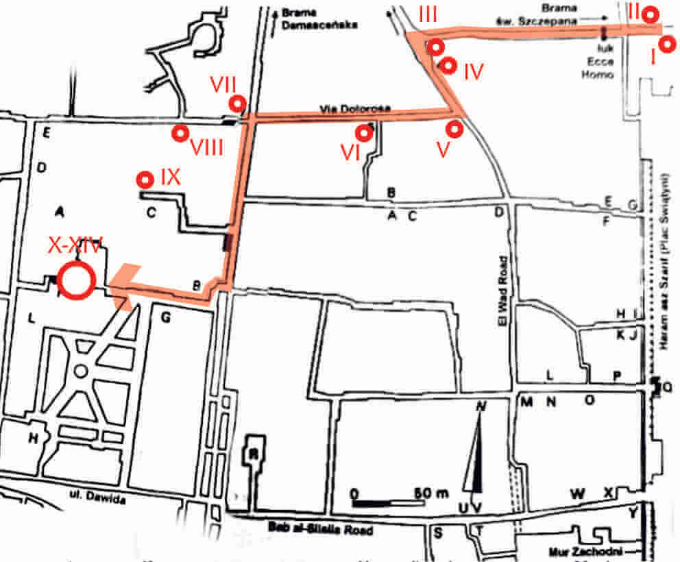 Via Dolorosa Droga krzyżowa schemat